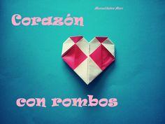 Origami - Papiroflexia. Corazón decorado con rombos de dos colores
