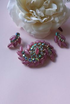 Stunning Rhinestone Brooch Earrings Givre by TheWildVintageRose