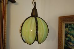 Vintage Green Tulip Slag Glass Ceiling Light Fixture by JunquePro