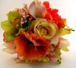Coral Hibiscus & Green Cymbidium Orchids Real Touch Bridal Bouquet