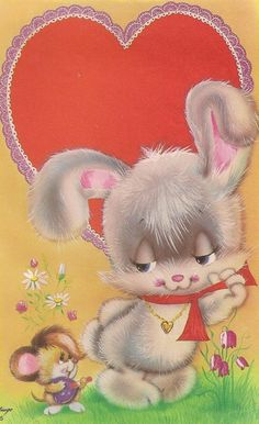 <3 <3 <3 Vintage Cards, Vintage Postcards, Vintage Easter, Vintage Christmas, Cute Animal Illustration, Animal Illustrations, Vintage Illustrations, Bunny Images, Bunny Art