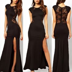 Sexy Trendy Elegant Womens Slim Long Maxi lace Gown Evening Cocktail Party Dress