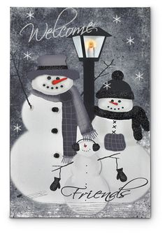 Dimensions: x Stretched canvas Flickering Lights AA Batteries On / Off switch .A family of snowmen offers you a winter greeting in the LIGHTED SNOW WE Christmas Paintings On Canvas, Christmas Canvas, Christmas Art, Winter Christmas, Christmas Signs, Christmas Pictures, Wine And Canvas, Arte Country, Ecole Art