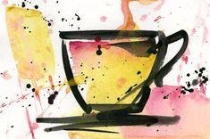 Coffee Dreams No.2 ... Original abstract coffee cup art by Kathy Morton Stanion KathyMortonStanion.etsy.com