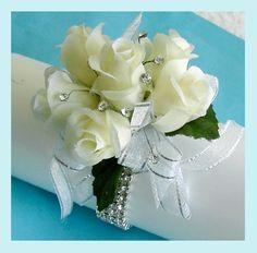Off White Roses Corsage Rhinestones Bracelet  Wristlet via Etsy