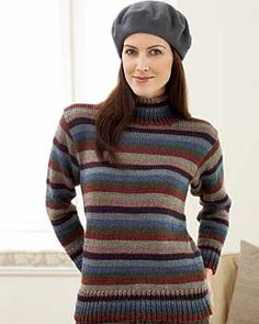 Classic sweater in warm, rich earth-hued stripes and cozy turtleneck. Sizes XS-5XL (finished bust 37in/94cm - 66in/167.5cm). Knit in Bernat Satin with sizes 4.5 mm (U.S. 7) and 5 mm (U.S. 8) needles. 2 st holders.