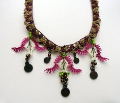 Needlework necklace with tulips from Turkey  free by MsPolite, $45.00