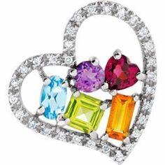 14K White Multi-Gemstone & 1/8 CTW Diamond Pendant