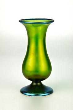 Loetz iridescent vase blue Silberiris rim and pedestal foot, circa 1910   Collectors Weekly