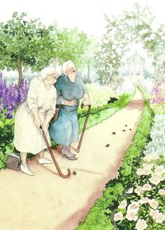 Originaali: Inge Look  Grannies using their canes as golf clubs  :D  postmarked in 2011 with a Finland berries stamp