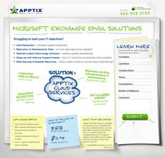 Apptix Landing Page (Good: Solution presenting as part of an intuitive illustration, what, why, and who succinctly presented on the post-its, simple benefit key points defined, form data encapsulated. Test Items: Better encapsulation for form to set it apart, use of reserved bold orange CTA color opposite the dominant green color)