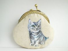 kitten Cat Hand Painting Purse