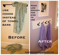 Use hooks instead of towel bars.  Easier for kids, dry more towels, neater... we have this system in every bathroom in our house now.  So much better!!  #organization #tips #towels #hooks #harvardhomemaker