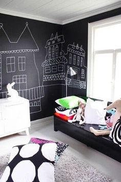 chalkboard wall for the kids' room inspiration Unisex Kids Room, White Kids Room, White Rooms, Decoration Inspiration, Black Walls, Kids Bedroom, Childrens Bedroom, Kids Rooms, Bedroom Ideas