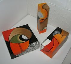 Munay Arte sobre objetos Simple Acrylic Paintings, Painting On Wood, Painted Boxes, Wooden Boxes, Brick Crafts, Cubist Art, Decoupage Box, Country Paintings, Box Art