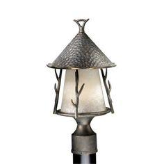 Vaxcel Lighting WD-OPU090 Woodland 1 Light Outdoor Post Light, Autumn Patina (Steel)