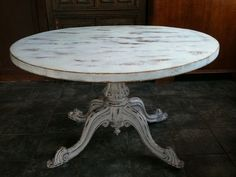Anitque White Shabby Chic Round Dining Table by Eukinu, via Flickr