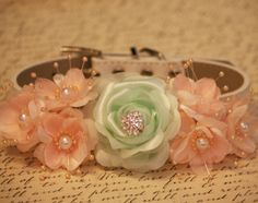 Peach and green wedding Dog Collars- Floral Wedding Accessories,Flower with Rhinestone and pearls, Pet wedding accessory, Vintage Wedding