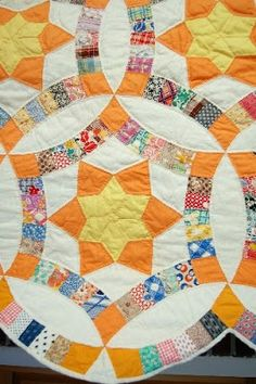 Wedding Ring quilt via quiltinspiration - find lots of great examples of unusual wedding ring quilts