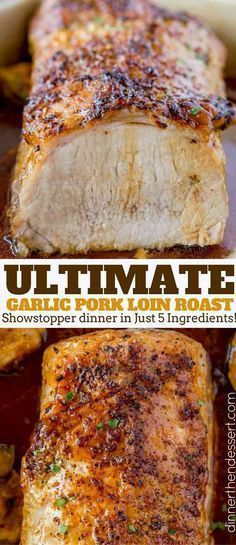 Ultimate Garlic Pork Loin Roast made with just five ingredients, it is easy enough for a weeknight meal and fancy enough for your holiday dinner parties! dinner for one Ultimate Garlic Pork Loin Roast - Dinner, then Dessert Pork Loin Recipes Oven, Crockpot Pork Loin Roast, Roasted Pork Loin Recipes, Pork Loin Marinade, Pork Loon Recipes, Pork Loin Ribeye Roast Recipe, Baked Pork Roast, Grilled Pork Loin, Pork Recipes For Dinner