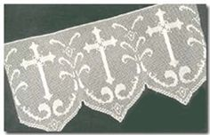 Filet Crochet Pattern - PDF - Cross w Scallop Altar Lace Edging