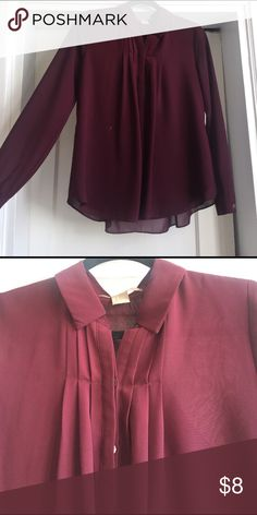 Collared button down Long sleeve maroon collared button down shirt.  Flowy sheer material, bodice is lined. Small paint stain on front, barely noticeable. Forever 21 Tops Blouses