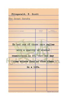 Great gatsby yellow dress quote cards