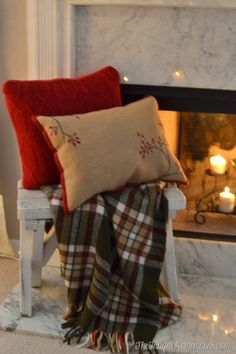 Target placemat turned into pillow and white bench with plaid throw
