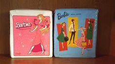 Lot of 2 Mattel Barbie Fashion Doll Clothing Vinyl Storage Cases 1980's & 1960's