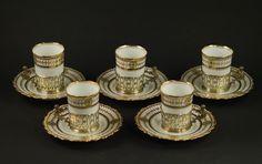 Antique AYNSLEY England gilt Porcelain mocca cups, W&H sterling silver handle   eBay