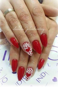 Gel Polish Red Deliciouis z dodatkiem Sugar Effect w walentynkowej propozycji od Sandry Jelonkiewicz #nails #nail #red #valentinesday #love #white #omg