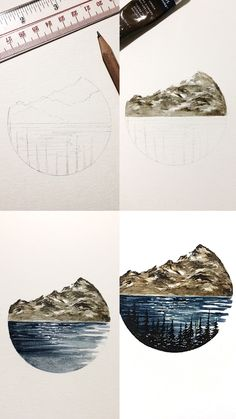 (@rosies.sketchbook) Process photos of one of my designs incorporating the mountain and the sea.  #watercolor #watercolour #painting #sketch #art #artist #artwork #draw #drawing #doodle #watercolorist #illustration #illustrate