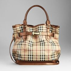 Medium Haymarket Check Tote with Metallic Leather Trim