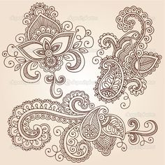 Vector Illustration, Henna Pattern, Mehndi Tattoo, Henna Design, Paisley Tattoo, Henna Paisley, Design Elements, Henna Tattoo