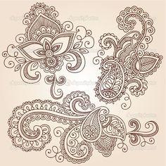 Vector Illustration, Henna Pattern, Mehndi Tattoo, Henna Design, Paisley Tattoo, Henna Paisley, Design Elements, Henna Tattoo