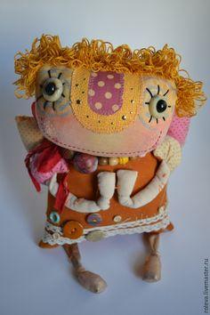 Купить или заказать Ангел в интернет-магазине на Ярмарке Мастеров. Яркий, весёлый, добрый ангелочек из текстиля в смешанной технике.