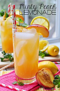 minti peach, summertime drinks, mint simple syrup, peach lemonade, summertim drink