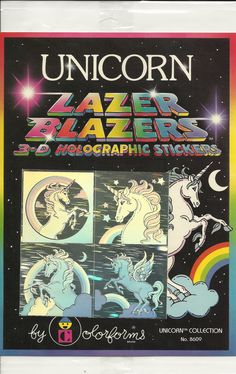 Vintage 80's Lazer Blazers UNICORNS Hologram Sticker Sheet