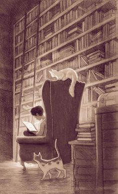 Yeah, that's my dream, I suppose. A big warm library, reading a lot of great books with fluffy fury cats around me. Must be paradise o:)
