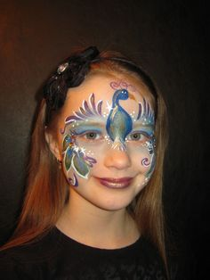 Face Painting Steps | Contest entry Peacock design - Face Painting by Jenn