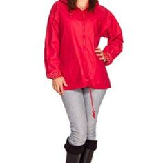 Rain Slicks Women's Classic Look Raincoat Hooded Plaid Lined Waterproof Jacket
