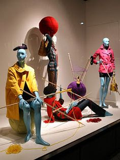 """BARNEYS, Ginza, Tokyo, New York, """"When we get frustrated at work we just remember that we have a ball of yarn/wool and a crochet hook to go home to"""" Window Display Retail, Window Display Design, Retail Windows, Shop Windows, Shop Interior Design, Store Design, Fashion Retail Interior, Yarn Display, Mannequin Art"""