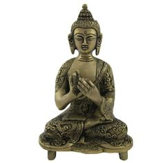 Brass sculpture of Lord Buddha.Size: Length - 3.75 inches, Width - 2.25 inches, Height - 6 inches, Weight: 0.8 Kg.Perform Puja Just place it for decor or keep it as collectible.Handmade by metal craftsmen from Moradabad, Uttar Pradesh in North India.Makes excellent religious and spiritual gift.
