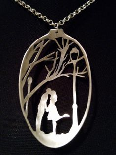 Stamped Spoon Handmade Necklace,A Couple Kissing In The Park,Lovers Under A Vintage Street Light