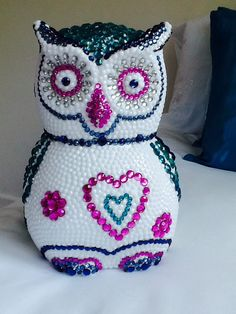 Beaded Owl Styrofoam covered in thousands of individually placed rhinestones! # cute owl