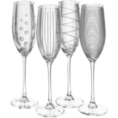 Mikasa Cheers Set of 4 Champagne Flutes ($34) ❤ liked on Polyvore featuring home, kitchen & dining, drinkware, glass champagne flutes, mikasa drinkware, mikasa, etched champagne flutes and mikasa champagne flutes