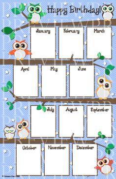 Johnson Creations: Owl Birthday Chart