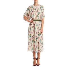 REDValentino Floral Midi Dress ($1,075) ❤ liked on Polyvore featuring dresses, 3 4 length sleeve dress, flower print dress, three quarter length sleeve dresses, floral midi dress and pink midi dress