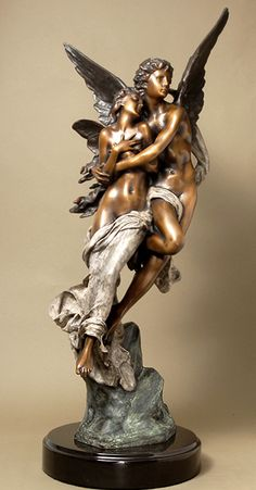 Bronze Cupid and Psyche by Henri Godet