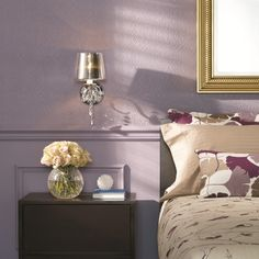 This table #lamp perfectly matches this #bedroom\'s wallpaper ...